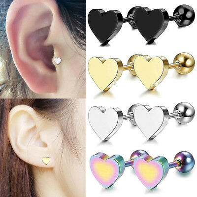 2PCS Stainless Steel Heart Cartilage Stud Earrings with Screw Back Women Jewelry