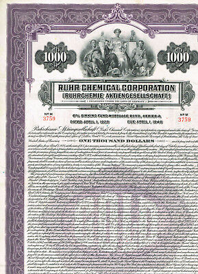 Ruhr Chemical Corp., 1928, $1000 Gold bond, cancelled, VF+
