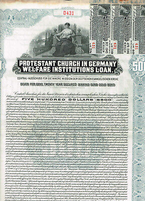 Protestant Church in Germany, 1926, $500 Gold bond, cancelled, SCARCE, VF-see sc