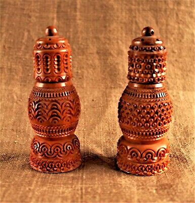 Pr. English Carved & Engine Turned Coquilla Nut Salt and Pepper Shakers c. 1855
