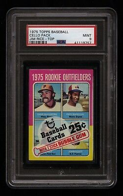 1975 Topps Baseball Unopened Cello Pack Psa 9 Mint Jim Rice Rc On Top Red Sox!