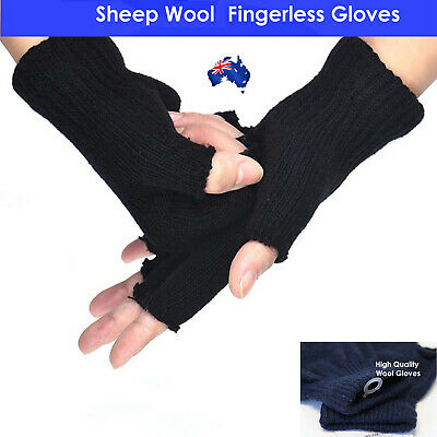 Sheep WOOL Winter Fingerless Gloves Warm Winter Unisex Ski Gloves for Boys Girls