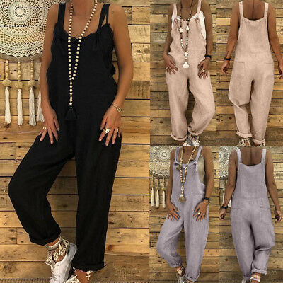 Women's Linen Long Playsuit Dungarees Harem Pants Ladies Overall Jumpsuit AU
