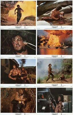 RAMBO: FIRST BLOOD PART 2 (1985) Stallone U.S. Lobby Cards Set  (8 x 10)