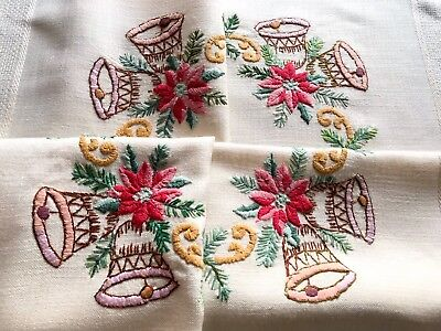 Vintage Hand Embroidered Cream Cotton CHRISTMAS Table Cloth 34x35 Inches