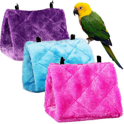 Bird Parrot Hammock Hanging Cave Cage Practical Plush Snuggle Hut Tent Bed