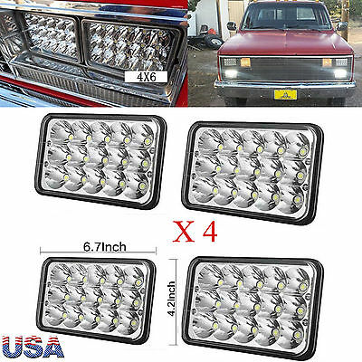 4X6 Sealed Beam LED Headlight Bulbs For Kenworth T800 T400 T600 W900B W900L 4Pcs