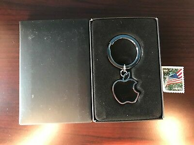 authentic Apple Logo Apple Computer black Key chain in box - NEW great gift
