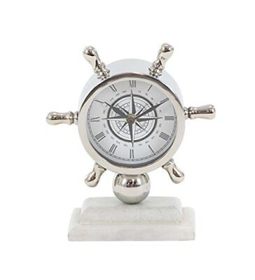 "Deco 79 43509 Stainless Steel and Marble Ships Wheel Table Clock, 8"" x 7"","
