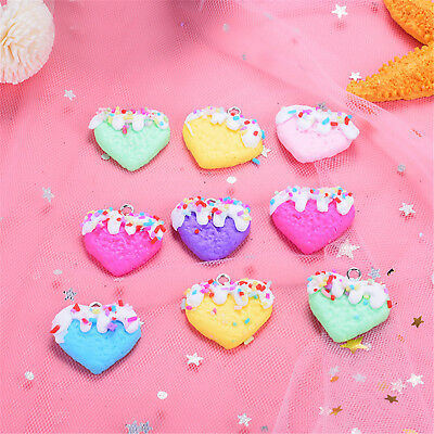 10pcs Polymer Clay Cute Heart Charms Pendant for DIY Necklace Keychain Making