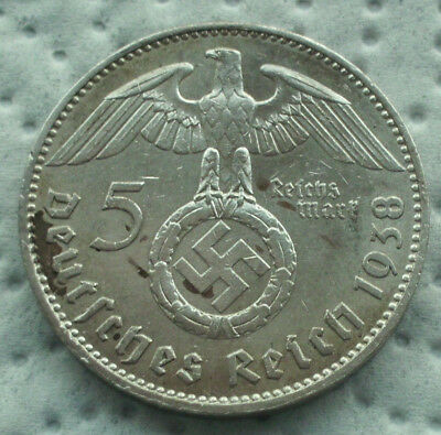 5 Mark 1938 J  WW2 German Silver Coin Third Reich Swastika