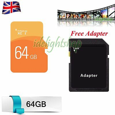 SD Memory Card + Free Adapter 64GB TF Flash Storage Card For Phone Tablets