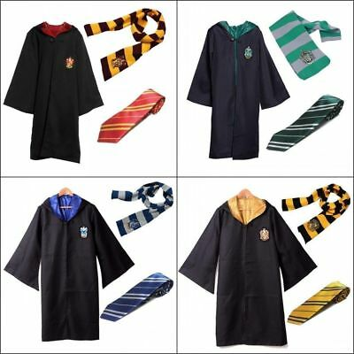 Gryffindor Slytherin Harry Potter Costume Robe Cloak Scarf Tie Outfits Cosplay