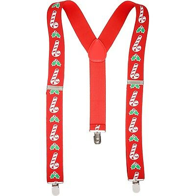 Christmas Braces Mens Suspender Xmas Fancy Dress Accessory Santa Festive Novelty