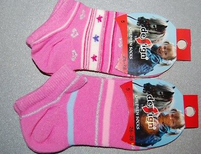 Girls' Kids Pack of 2 Trainer Socks Trainer Liners Pink Size UK 8.5-10  EU26-28
