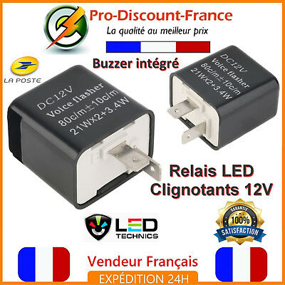 Relais Centrale Clignotant LED BUZZER Moto Scooter 12V Anti Erreur 2 Broches