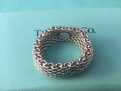 Women's Tiffany & Co Woven Mesh Band Ring Sterling Silver Size L Genuine