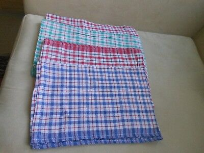 4 basic thin blue green red check tea towels good water absorber easy wash/dry