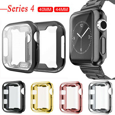 For Apple Watch Series 4 Soft TPU Bumper Case Cover Screen Protector 44mm 40mm
