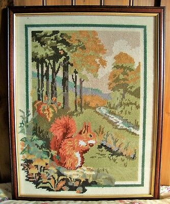 Vintage Penelope Autumn Coppice Red Squirrel Tapestry - Completed And Framed