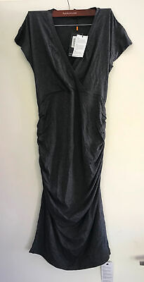 Isabella Oliver Cap Sleeve Halstead Maternity Dress Dark Grey Size 4 - NEW