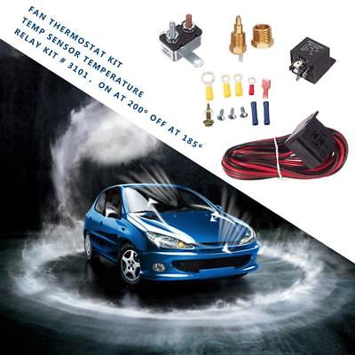 Car Fan Thermostat Module Temp Sensor On At 200℃ Off At 185℃ 50A Relay Kit