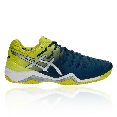Asics Mens Gel-Resolution 7 Clay Tennis Shoes Blue Green Sports Breathable
