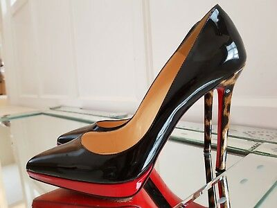 b5a1bc888f Christian Louboutin 120 Pigalle Plato Black Leopardino Patent Leather Heels  39.5