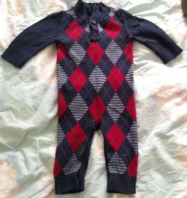 2a3587d3c BABY GAP PENGUIN Knitted All In One Romper Suit Babygrow Cream 12-18 ...