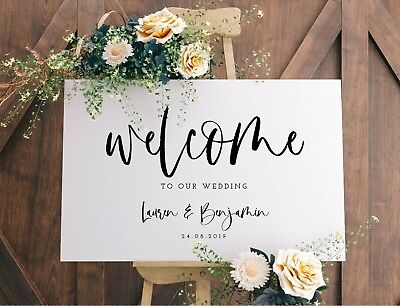 Personalised landscape 'Lauren' A3 Wedding Welcome sign- backed/unbacked