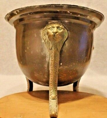 Antique solid brass jardinière flower pot (FRENCH) LION HEAD Cast legs. ORIGINAL
