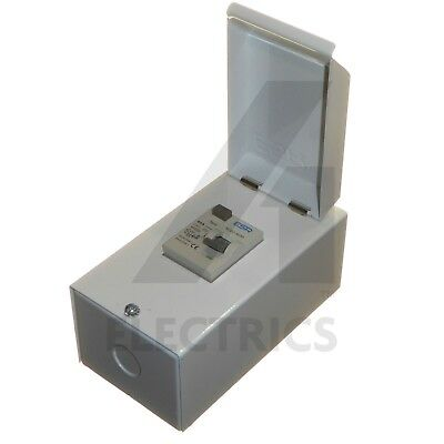 40 Amp 30mA Metal Enclosed RCD Double Pole 230V 6kA for Shower Garage 40A New