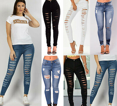 Ladies High Waisted Quality Ripped Styles Skinny Jeans Christmas Size 6-22Uk