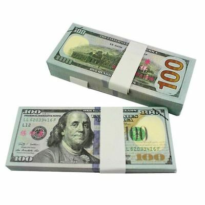 100 Dollar Prop Money Full Print 10K 2 Sided Play Bills Real Looking Realistic
