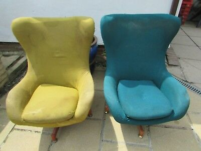 Retro Vintage Swivel Egg Chairs 60/70's Require Restoration