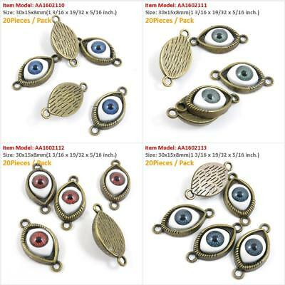 Antique Bronze Tone Jewelry Charms Navy Devil Eyes Connector Red Green Blue Craf