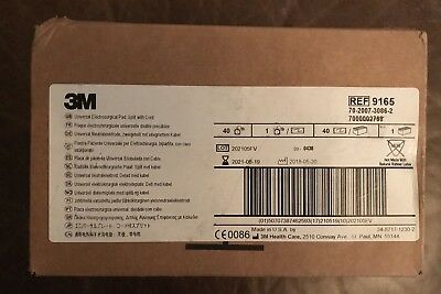 3M 9165 Universal Electrosurgical Pad Split With Cord New Case Of 40 Exp. 2021