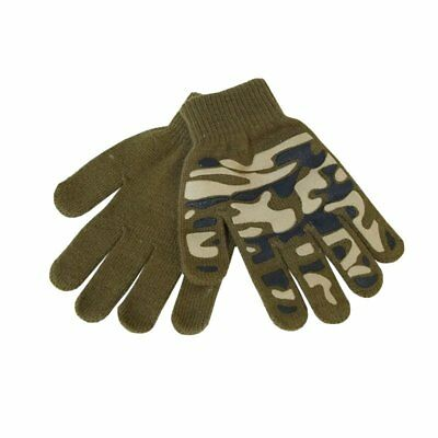 Kids Camo Magic Grip Gripper Warm Thermal Stretch Magic Gloves Childrens Army