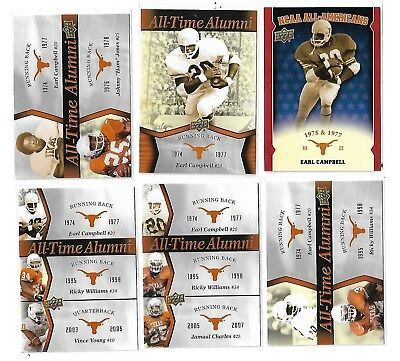 2011 UD University of Texas EARL CAMPBELL LOT OF SIX INSERT CARDS