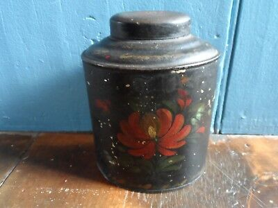"Antique 19th C. Tin Toleware Decorated 6"" Tea Caddy Spice Canister Lid Flowers"