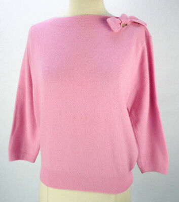 Vintage 40s Pink Pullover Sweater XL Bow Shoulder Lambswool Angora Blend