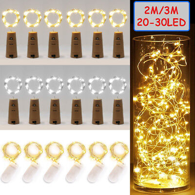 20/30 LED Wine Bottle Cork Shape Lights Night Fairy String Light Lamp Xmas Party