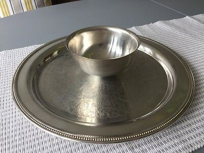 Silver Plated Serving Tray Platter Oneida Usa Dipping Bowl Attached Vintage