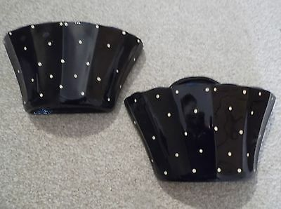 Pair of Black Glass Basket shaped Wall Pockets white spots good condition