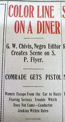 1903 newspaper AFRICAN-AMERICAN CIVIL RIGHTS STRUGGLE on a TRAIN in JIM CROW ERA