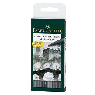 Faber-Castell - PITT Artist Brush Pens - India ink - Grey Shades x 6