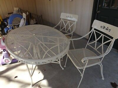 4Piece Patio Furniture Wrought Iron Outdoor Table, Chairs & Umbrella Stand