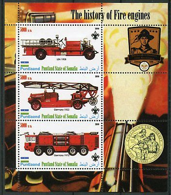 Somalia Puntlaand 2010 MNH History of Fire Engines Trucks 3v M/S Scouting Stamps