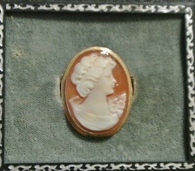 "14K Yellow Gold Italy 1 1/8"" Carved Carnelian Shell Cameo Pendant Brooch 561 NA"