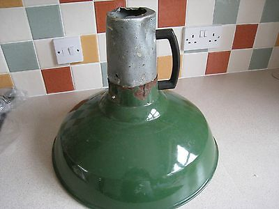 vintage  enamel    industrial  GREEN   LAMP   shabby  chic    36cm   high FAB